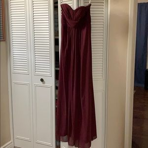 Wine David's Bridal Bridesmaid Dress